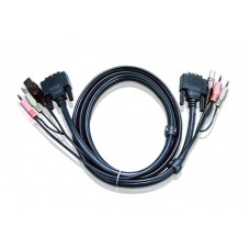 Aten 1.8m DVI-D (Single Link) Male to Male with USB Type A Male to Type B Female, 3.5mm Stereo Audio & Mic Cable