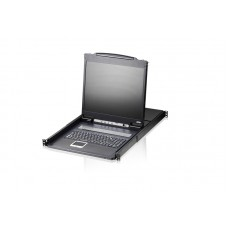 Aten 16 Port Single Rail LCD KVM Switch 19' LED-Backlt LCD Monitor, TouchPad,  PS/2-USB VGA, 1RU Rackmount