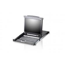 Aten 16 Port Single Rail LCD KVM Switch with Daisy Chain 19' LED-Backlt LCD Monitor, TouchPad,  PS/2-USB VGA, 1RU Rackmount