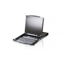 Aten 19' Inch Dual Rail LCD Console 19' LED-Backlit LCD Monitor, PS/2-USB, Illumination Keyboard/TouchPad, 1RU Rackmount