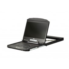 Aten 18.5' Short Depth VGA Single Rail LCD Console, can be mounted up to a depth of 42cm to 72cm and LCD panel with 1366 x 768 resolution
