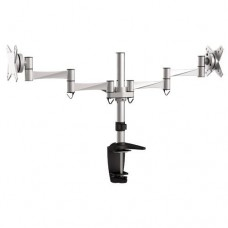 Brateck Dual Monitor Elegant Aluminium w/Arm&Desk Clamp Silver VESA75/100mm Up to27'
