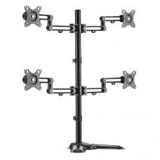 Brateck Quad Monitor Premium Articulating Aluminum Monitor Stand Fit Most 17'-32' Monitors Up to 8kg per screen